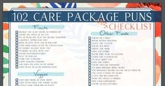 A gigantic list of puns to use in care packages-- great for deployment and military personnel, college students, and missionaries.