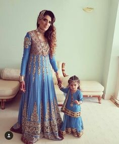 Mother and baby Pakistani Wedding Outfits, Bridal Outfits, Indian Outfits, Bridal Dresses, Girls Dresses, Bridal Sarees, Mother Daughter Wedding, Mother Daughter Fashion, Mother Daughters