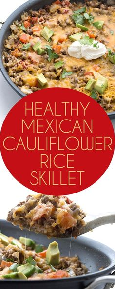 Cauliflower Rice Skillet Dinner Dig into this easy one pan keto Mexican cauliflower rice skillet dinner recipe. Your whole family will love it!Dig into this easy one pan keto Mexican cauliflower rice skillet dinner recipe. Your whole family will love it! Ketogenic Recipes, Paleo Recipes, Mexican Food Recipes, Low Carb Recipes, Dinner Recipes, Cooking Recipes, Ketogenic Diet, Dessert Recipes, Rice Recipes