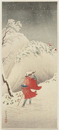 Snow in the mountains. Woodblock print by Takahashi Hiroaki, ca. 1930.
