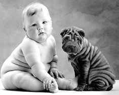 Fat baby and fat puppy