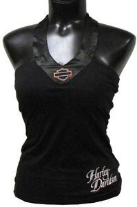 Harley-Davidson® Womens Satin Trim Halter Top - HL34-H39S