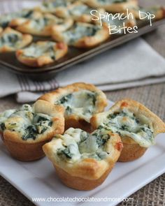 Spinach Dip Bites-perfect for any party! Made these for Xmas and they were yummy! I used standard muffin pans and will double the crust next time since I don't have minis! Still turned out great!