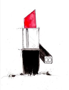 Chanel Lipstick and Mascara Illustration (Print). $23.00, via Etsy.