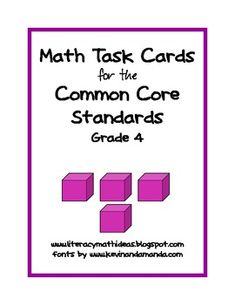 This document includes an open-ended task card for EVERY Grade 4 Common Core Math Standard.  This is a great way to introduce your students to the Common Core Standards.$4
