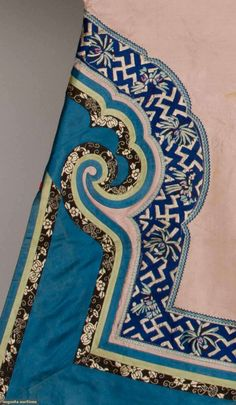Detail view of PINK & BLUE WOMAN'S ROBE, CHINA, c. 1900#ChineseTextikes