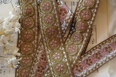 "Early 1900s Antique French 1 5/8"" Gold Pink Flowers Jacquard Real Metal Thread Silk Metallic Ribbon Edwardian Dress Hat Millinery Trim Edwardian Dress, Dress Hats, Silk Thread, French Antiques, Pink Flowers, Ribbon, Gull, Shadows, Silver"