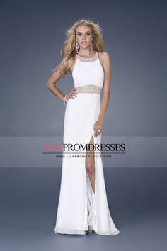 2013 Prom Dresses A Line Sleeveless Sweep/Brush Train (<30cm) Zipper Up Back With Slit White US$ 169.99 LilyP3QADC4H - lilypromdresses.com