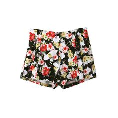 Retro Styling Floral Print Shorts ($36) ❤ liked on Polyvore featuring shorts, bottoms, pants, short, zipper shorts, short shorts, retro shorts, floral shorts and pleated shorts