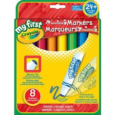 8 Washable Markers. Secure Tip. Can't be crushed or removed by little fingers.<br><br>My First Crayola provides children with art supplies and activities made especially for their little hands, so they can explore, express, create and connect.