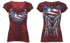 Archaic AFFLICTION Women T-Shirt AMERICAN LOVER Biker USA FLAG Sinful S-XL $40 a