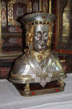 The skullcap reliquary of Saint Sebastian (d. 287) in the Church St. Sebastian in Ebersberg, Bavaria, Germany. Photo by J. Patrick Fischer.According to Christian belief, he was killed during the reign of Emperor Diocleatians persecution of Christians