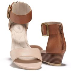 """The perfect weekend shoe! This leatherlike sandal has Cushion Walk® arch and heel support and an adjustable ankle strap with elastic stretch. 1 1/2"""" wedge.Whole Sizes: 6M-11MHalf sizes, order one size up."""