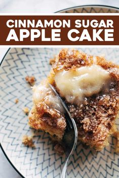 Sugar Apple Cake - Pinch of Yum This simple cinnamon sugar apple cake is light and fluffy, loaded with fresh apples, and topped with a crunchy cinnamon sugar layer! Apple Cake Recipes, Easy Baking Recipes, Apple Desserts, Just Desserts, Delicious Desserts, Dessert Recipes, Cooking Recipes, Yummy Food, Health Desserts