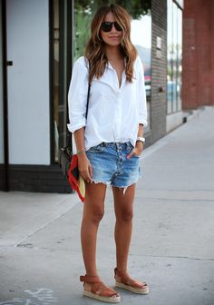 Sincerely Jules - Classic white button down, cutoffs & sandals