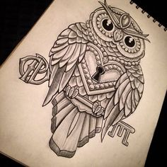 Amazing-Owl-Lock-With-Key-Tattoo-Design.jpg (640×640)