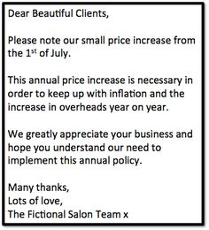 Example price increase letter to nail salon clients - New Deko Sites Salon Quotes, Nail Quotes, Salon Business, Business Signs, Business Ideas, Hair Salon Prices, Salon Promotions, Mauve Nails, Hairstylist Quotes