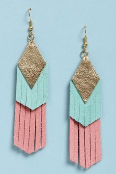 CLAIRE FONG Claire Fong Fun with Fringe Blue and Pink Leather EarringsLove it!