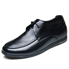 Fashion lace up elevator casual shoes 6cm / 2.36inch black calfskin height shoes
