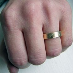 18k yellow gold wedding band rustic wedding band by metalicious