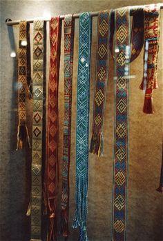 Various bands based on historical patterns at an exhibit at the Museum für Vor- und Frühgeschichte in Frankfurt in 2002. (left to right: Hochdorf, Hochdorf, ??, Chelles, Leksand, Snartemo, Chelles)