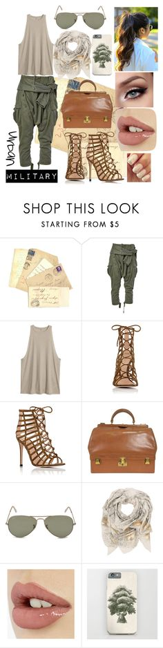 """""""Urban Military"""" by sophia-pawz ❤ liked on Polyvore featuring Faith Connexion, Gianvito Rossi, Hermès, Ray-Ban and Sophie Darling"""