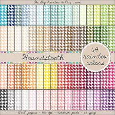 HOUNDSTOOTH RAINBOW PATTERN 64 colors scrapbooking printable papers for crafts, journaling, party organization and decor or any DIY projects. 40% OFF!