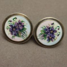 Violet Flower Earrings Sterling Silver Enamel Vintage Soren Sundet Norway