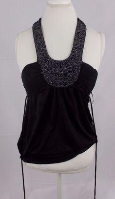 BCX Womens Halter Top size XS Shirt Tie Back Blouse Black Sequence Shirt Cute  #NewYorkandCompany #Halter