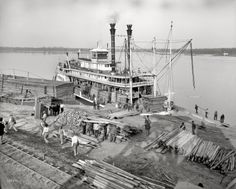 "Louisiana circa 1910. ""Sternwheeler America at Angola Landing, State Penitentiary farm, Mississippi River."" 8x10 glass negative."