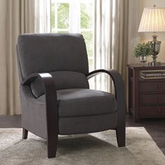 @Overstock - Riverside Charcoal Recliner. Made by Riverside, this elegant, charcoal arm recliner adds style to any room while maintaining durability. The contemporary shape of the arm recliner complements any decor, while the soft fabric and padding provide the upmost comfort.http://www.overstock.com/Home-Garden/Riverside-Charcoal-Recliner/4450289/product.html?CID=214117 $274.99