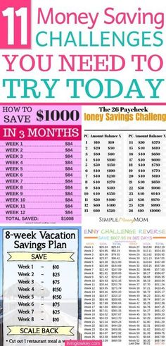 Some of the best money saving challenges I've come seen. If you're looking to save money these money challenges will help you do that and more! Best Money Saving Tips, Ways To Save Money, Money Tips, Saving Money, Money Budget, Groceries Budget, Money Savers, Investing Money, Savings Challenge