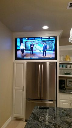 TV over fridge at a beach house. Took some time calculating measurement because it was a exact fit. Tv In Kitchen, Beach House, New Homes, Remodel, House, Home, Home Renovation, Kitchen Remodel, Renovations