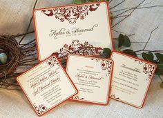 Orange Red Mendhi Coaster Wedding Invitation by nestingprojectwed, $60.00