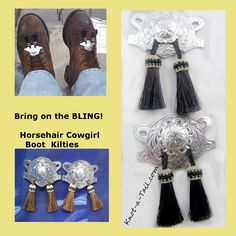 Boot Bling, Horsehair kilty's , Stlering silver with horsehair tassels  boot bling, boot jewelry, boot accessory, boot charm horsehair by Knotatail on Etsy