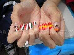 Hetalia Spamano Nails!!! Spain x Romano Hahaha yeah. One of my favorite pairings