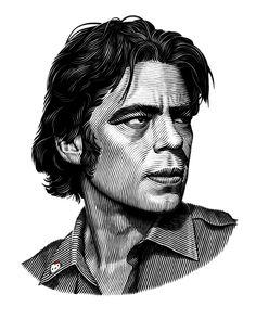 Benecio Del Toro portrait by Natalia Korsak, via Behance