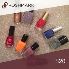Assortment of nail polishes Assortment of nine nail polishes including L'oreal, Nailtini, Trust Fund, Julie, Zoya, My beauty spot, Adesse, anise. All brand new. Makeup Brushes & Tools