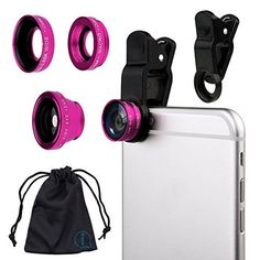 Pink Clip On 180 Degrees Portable 3 in 1 Camera Lens Kit  FishEye  Wide Angle  Macro for Pantech P8010 Flex ** You can find more details by visiting the image link.