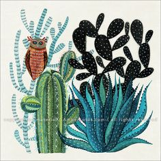 Feathered Friends 2017 Wall Calendar: Watercolor Bird Illustrations by Geninne D Zlatkis. Click through to see the most recent edition! Folk Art Flowers, Flower Art, Watercolor Bird, Watercolor Paintings, Cactus Clipart, Cactus Painting, Bird Illustration, Tile Art, Whimsical Art
