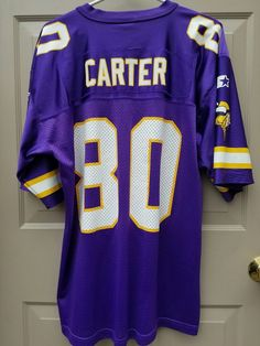 466400d0 Vintage Chris Carter Minnesota Vikings Starter Jersey NFL Size 48 Large  Purple #Starter #MinnesotaVikings