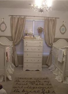 Gender neutral? It's rather feminine, but maybe. Really pretty nursery though. Love the long bed skirts and cribs.