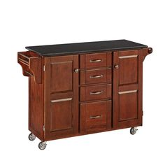Home Styles Create-a-Cart Medium Cherry Kitchen Cart with Black Granite Top, Solid Wood Construction, Adjustable Shelves, Towel Bar, and Spice Rack Kitchen Island With Butcher Block Top, Kitchen Island Cart, Kitchen Carts, Kitchen Islands, Kitchen Ideas, Buy Kitchen, Kitchen Pantry, Design Kitchen, Kitchen Dining