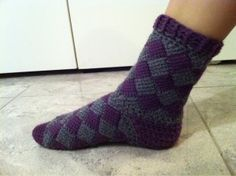 Crochet Entrelac Socks  I like Tunisian crochet but Entrelac is still baffling to me