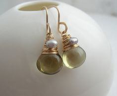 Olive Quartz Drop Earrings by SarahHickeyJewellery on Etsy