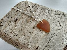 Honey Colored Genuine Natural Heart Shaped by MadeByTheBaySeaGlass