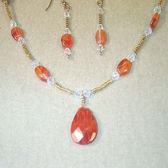 What a beautiful color! Fired Agate Faceted Briolette with Carnelian agate by GemsByBren, $22.00