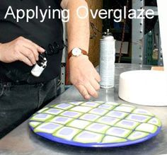 Applying Overglaze to fused projects when ready for firing to prevent divitrification.