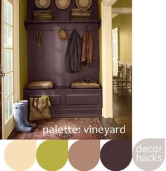 Love the saturated color in this tiny mudroom.  It may be small, but there are a lot of possiblities there!
