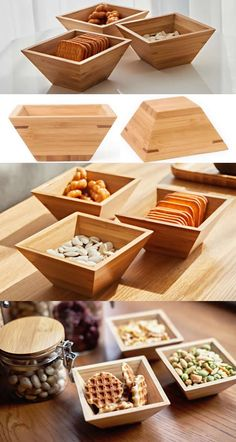 Bamboo Wooden Container Dry Fruit Snack Dish Office Desk Organizer Jewelry Storage Box Case Paper Clip Holder Collection Makeup Organizer Ideas Office Desk Stationery Organizer,to organizer your office supplies